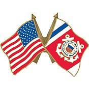 U.S. Coast Guard Flag w/ U.S. Flag Pin