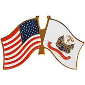U.S. Army Flag w/ U.S. Flag pin
