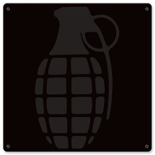 Grenade Metal Wall Sign (12X12)