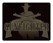 Gunfighter Metal Wall Sign (15X12)