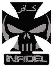 Infidel IV Iron Cross Metal Wall Sign (14X18)