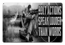 Bolt Actions Metal Wall Sign (18X12)
