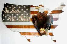 3-D IN GOD WE TRUST USA Metal Wall Sign (25X16)