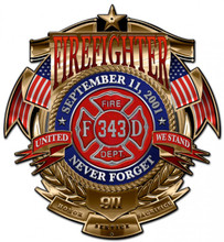 FIREFIGHTER NEVER FORGET Metal Wall Sign (15X16)