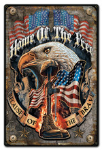 HOME OF THE FREE Metal Wall Sign (12X18)