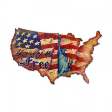 LAND OF THE FREE USA Metal Wall Sign (25X16)