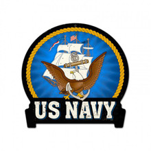 Navy Metal Wall Sign (16X15)
