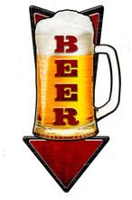 3-D COLD BEER ARROW Metal Wall Sign (24X10)