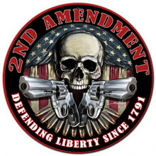 2ND AMENDMENT DEFENDING LIBERTY Metal Wall Sign (14X14)