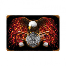 AMERICAN FIREFIGHTER Metal Wall Sign (18X12)