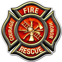 FIRE RESCUE EMBLEM Metal Wall Sign (16X16)