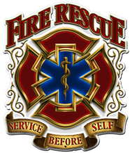FIRE RESCUE SERVICE Metal Wall Sign (14X16)