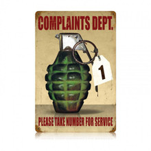 COMPLAINTS DEPT. Metal Wall Sign (12X18)