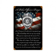 POLICE OFFICERS PRAYER Metal Wall Sign (12X18)