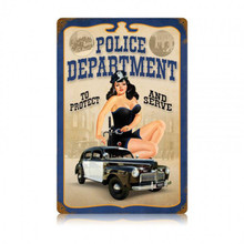 POLICE PIN UP Metal Wall Sign (12X18)