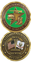 "US Army Retired ""Duty, Honor, Country"" Challenge Coin"