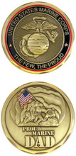 US Marines Proud Marine Dad Challenge Coin