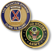 10th Mountain Division Brass Challenge Coin
