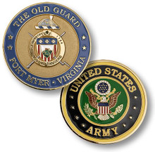 The Old Guard, Fort Myer, Virginia Brass Challenge Coin