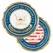 "U.S. Navy Veteran ""Proudly Served"" Challenge Coin"