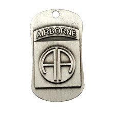 82ND AIRBORNE ANTIQUE FINISH DOG TAG NECKLACE-JOSHUA 1:9