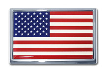 American Flag Chrome Emblem
