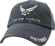 U.S. AIR FORCE RETIRED Blue Washed Baseball Cap