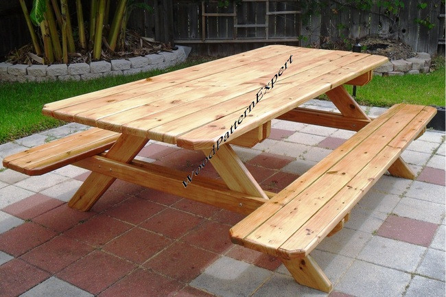 Picnic Table Family Size Park Style Standard 7 With Attached Bench Seats Pdf Download Plans So You Can Get It Now Detailed Step By Step Diy Patterns