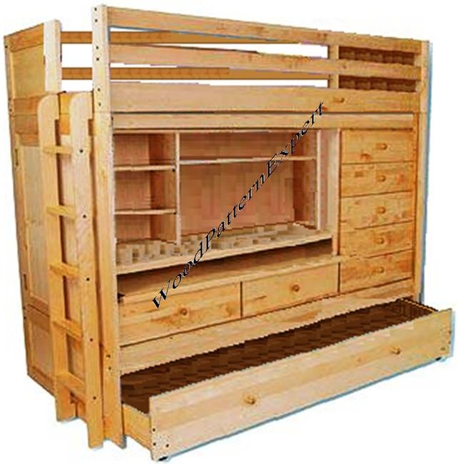 All N1 Loft Bunk Bed Plans With Trundle Desk Chest Closet Pdf