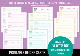 Recipe Card Printables (Half Page) - Rainbow