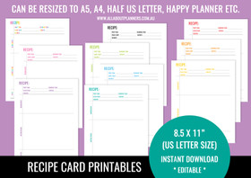 Recipe Sheet Printables (V5) - Rainbow