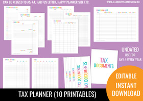 Tax Planner Printables - Rainbow