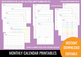 Monthly Calendar  Printables - Rainbow