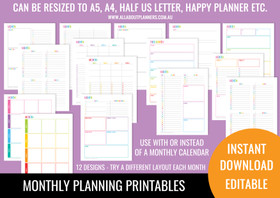 Monthly Planning Printables - Rainbow