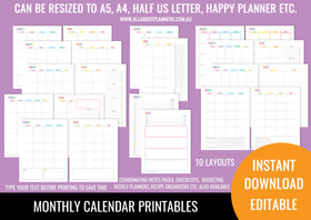 2 Page Monthly Calendar Printables - Rainbow