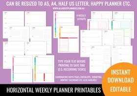 2 Page Horizontal Weekly Planner Printables - Rainbow