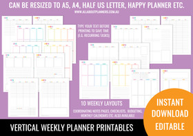 2 Page Vertical Weekly Planner Printables - Rainbow