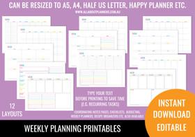 1 Page Horizontal Weekly Planner Printables - Rainbow