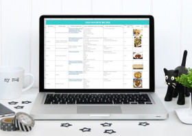 Recipe Organizing, Meal Planning, Food Inventory and Grocery list Spreadsheets