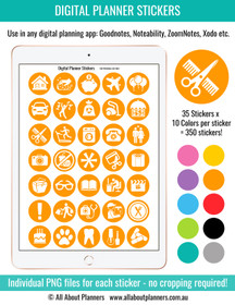 Icon digital planner stickers
