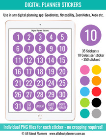 Number digital planner stickers