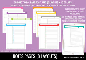 Note taking templates (PDF for printing or digital planning)