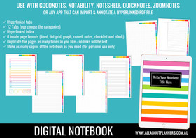 Digital Notebook - 12 Tabs / Subjects (use in Goodnotes or other annotated PDF app)
