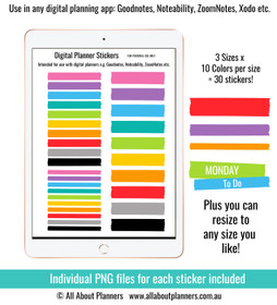 Washi tape (rainbow) digital planner stickers