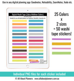 Washi tape (Mildliner Colors) digital planner stickers