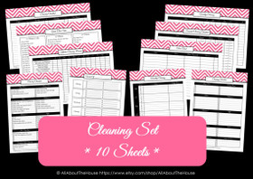 PINK - Cleaning Set - EDITABLE - Chevron Printable - Instant Download