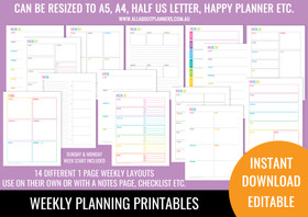 1 Page Weekly Planner Printables - Rainbow (Portrait page orientation)