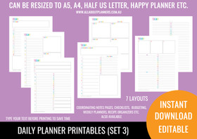 Daily Planner Printables (Set 3) - Rainbow