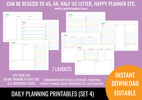 Daily Planner Printables (Set 4) - Rainbow