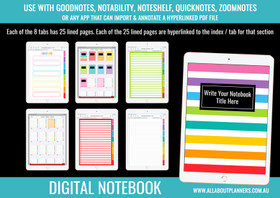 Digital Notebook - 8 Tabs / Subjects (use in Goodnotes or other annotated PDF app)